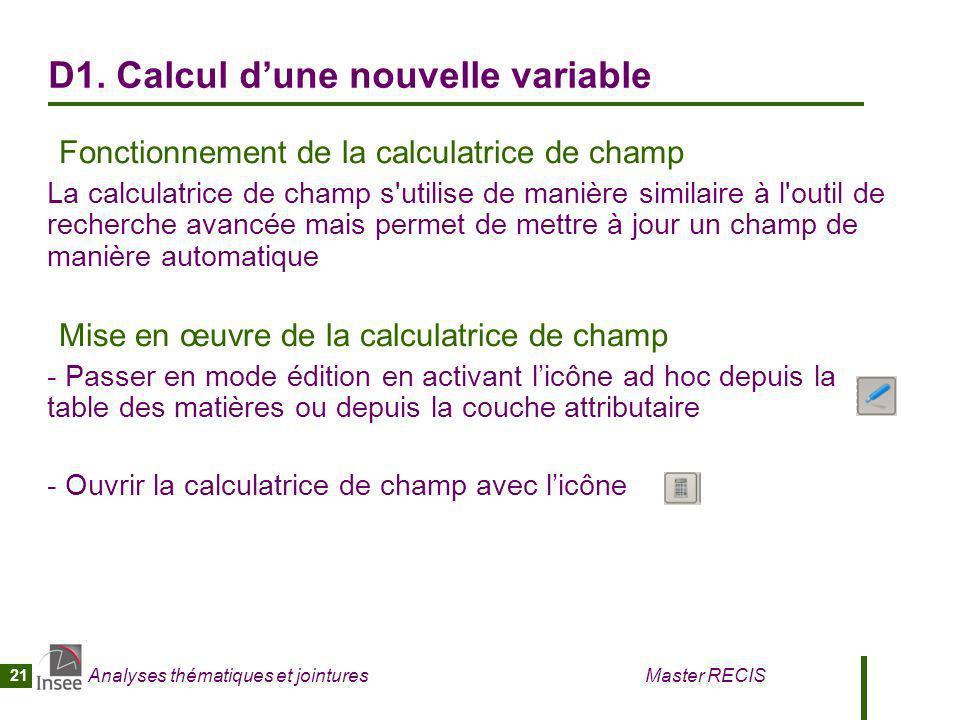 D1. Calcul d'une nouvelle variable