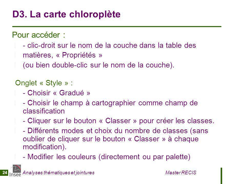 D3. La carte chloroplète Pour accéder :