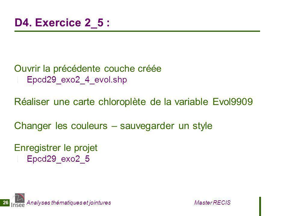D4. Exercice 2_5 : Ouvrir la précédente couche créée. Epcd29_exo2_4_evol.shp. Réaliser une carte chloroplète de la variable Evol9909.