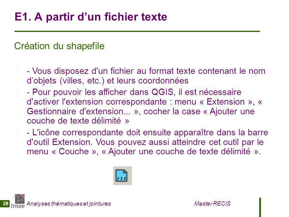 E1. A partir d'un fichier texte
