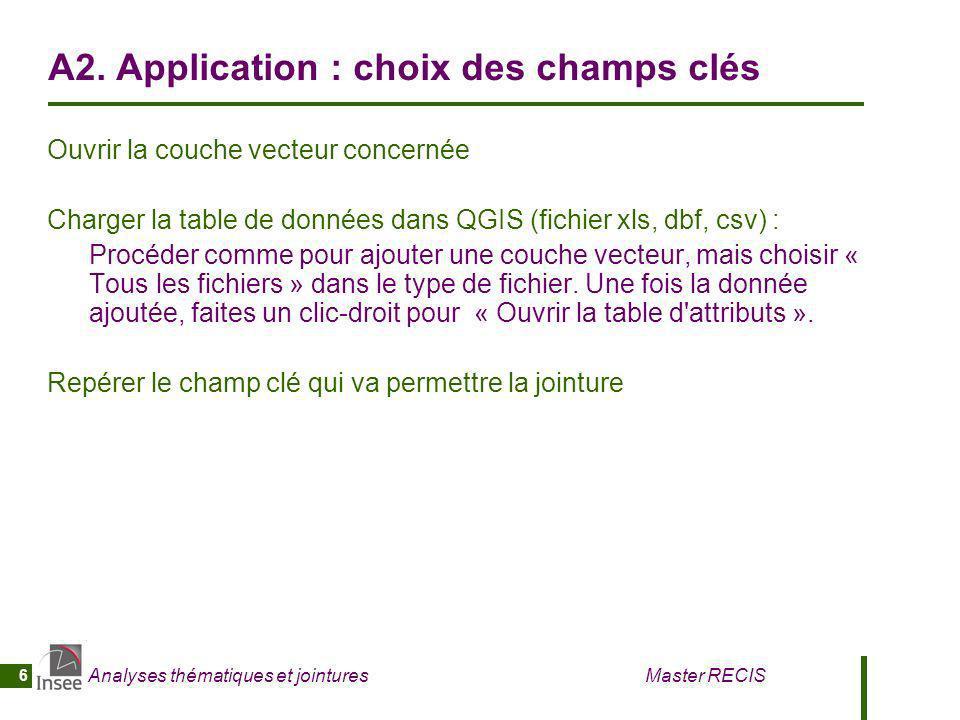A2. Application : choix des champs clés