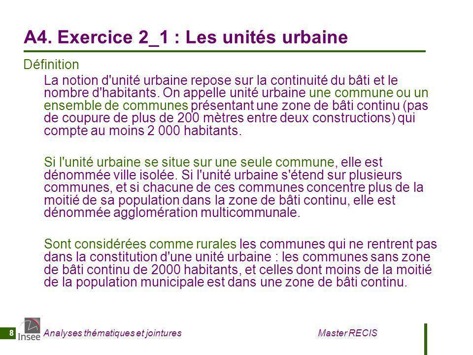 A4. Exercice 2_1 : Les unités urbaine