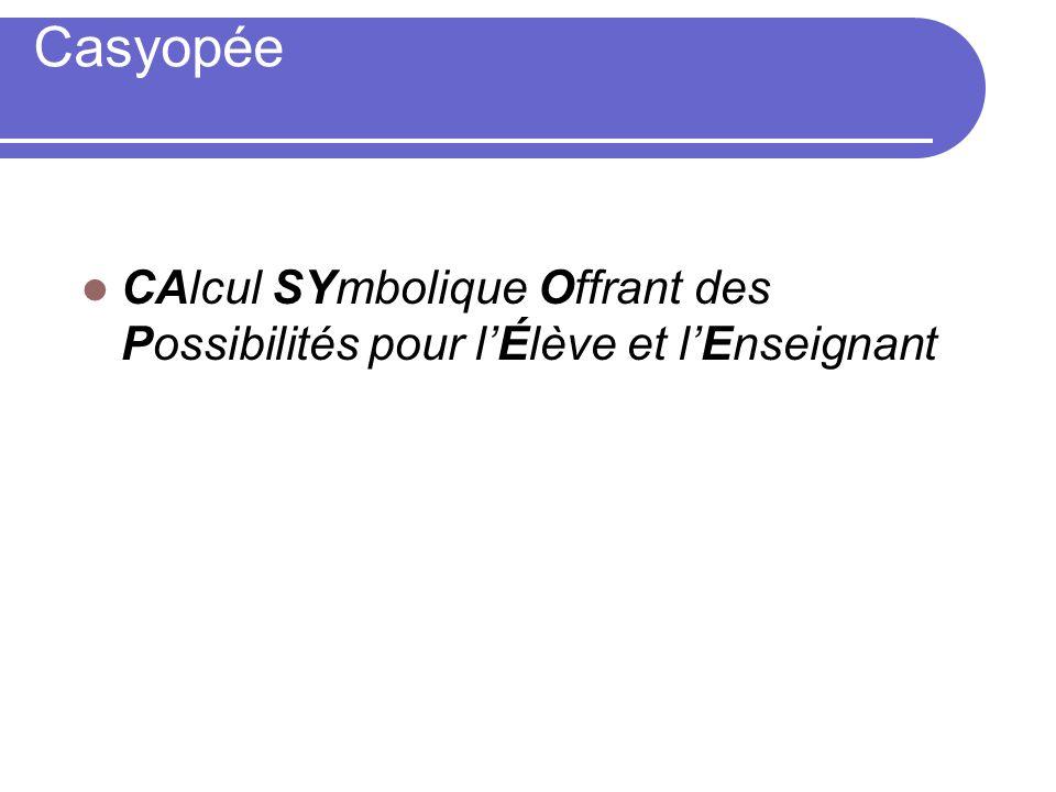 Casyopée CAlcul SYmbolique Offrant des Possibilités pour l'Élève et l'Enseignant