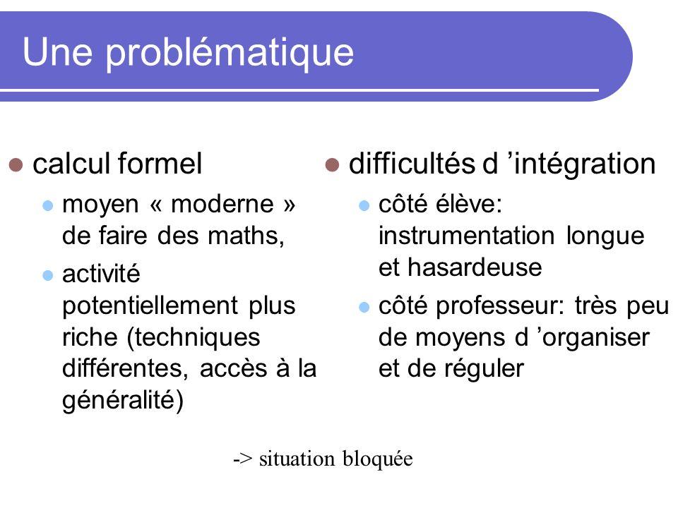 Une problématique calcul formel difficultés d 'intégration