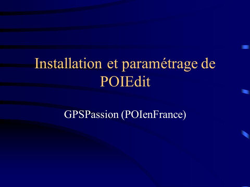 Installation et paramétrage de POIEdit