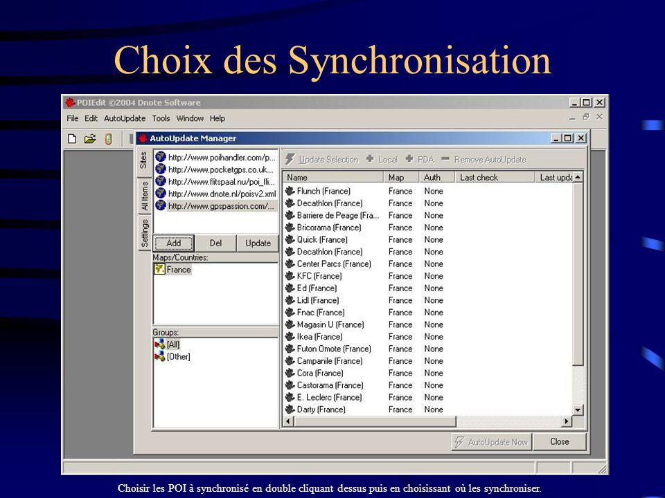 Choix des Synchronisation
