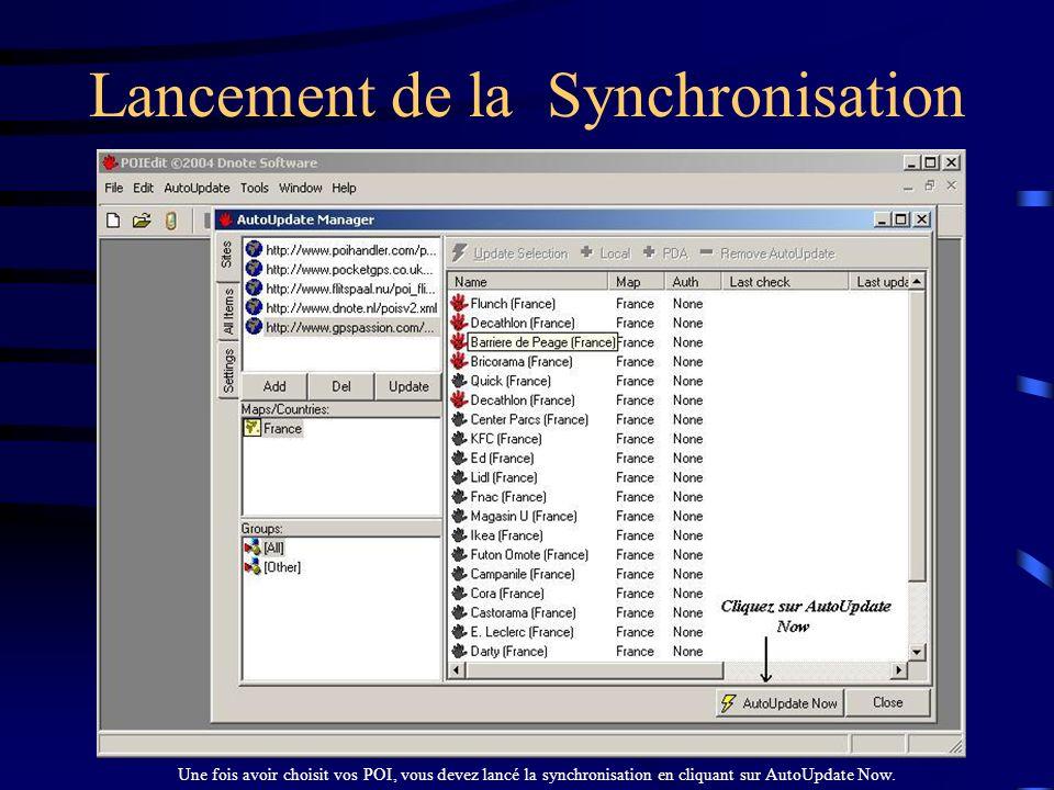 Lancement de la Synchronisation
