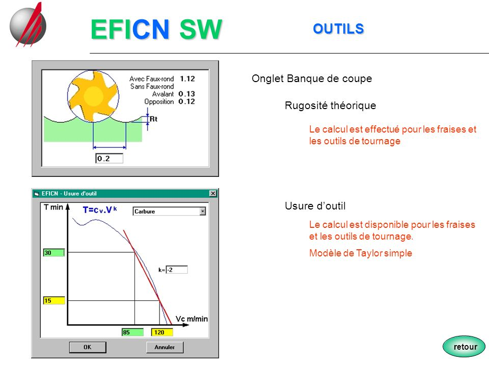 EFICN SW OUTILS Onglet Banque de coupe Rugosité théorique