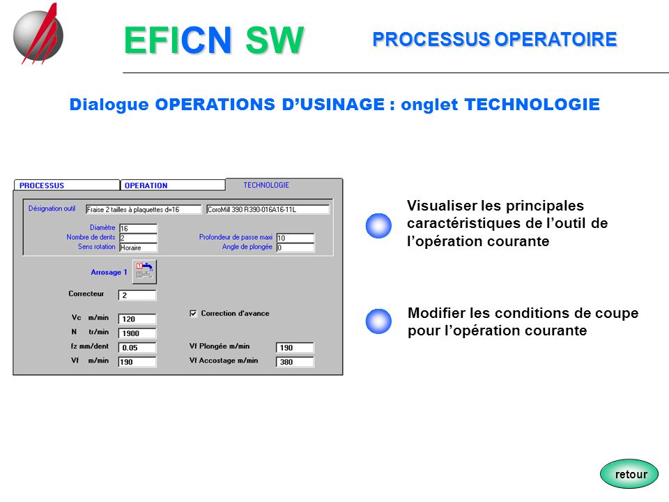 Dialogue OPERATIONS D'USINAGE : onglet TECHNOLOGIE