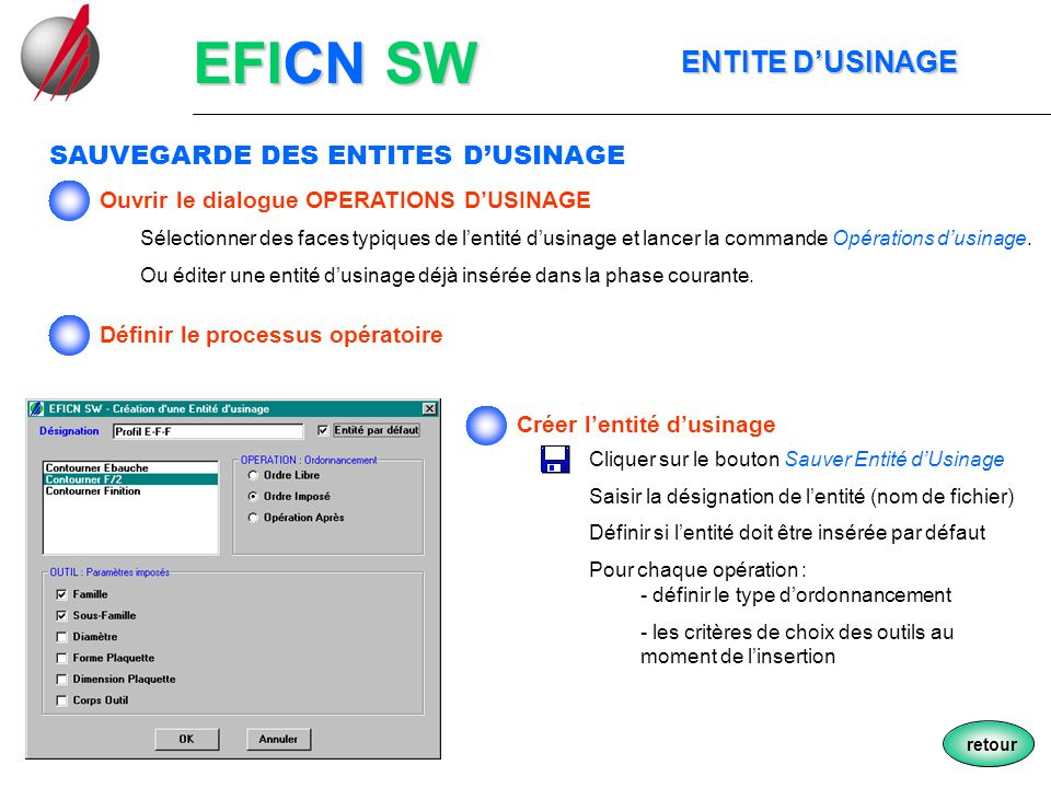 EFICN SW ENTITE D'USINAGE SAUVEGARDE DES ENTITES D'USINAGE