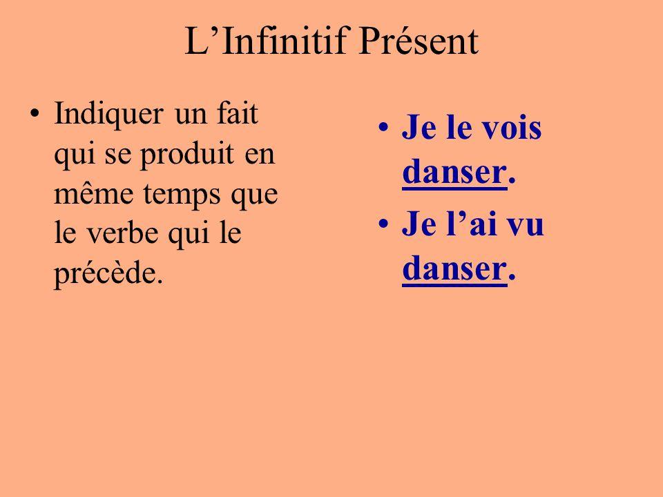 L'Infinitif Présent Je le vois danser. Je l'ai vu danser.