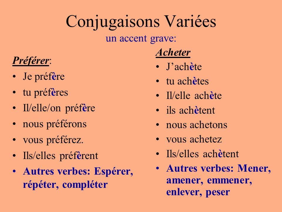 Conjugaisons Variées un accent grave:
