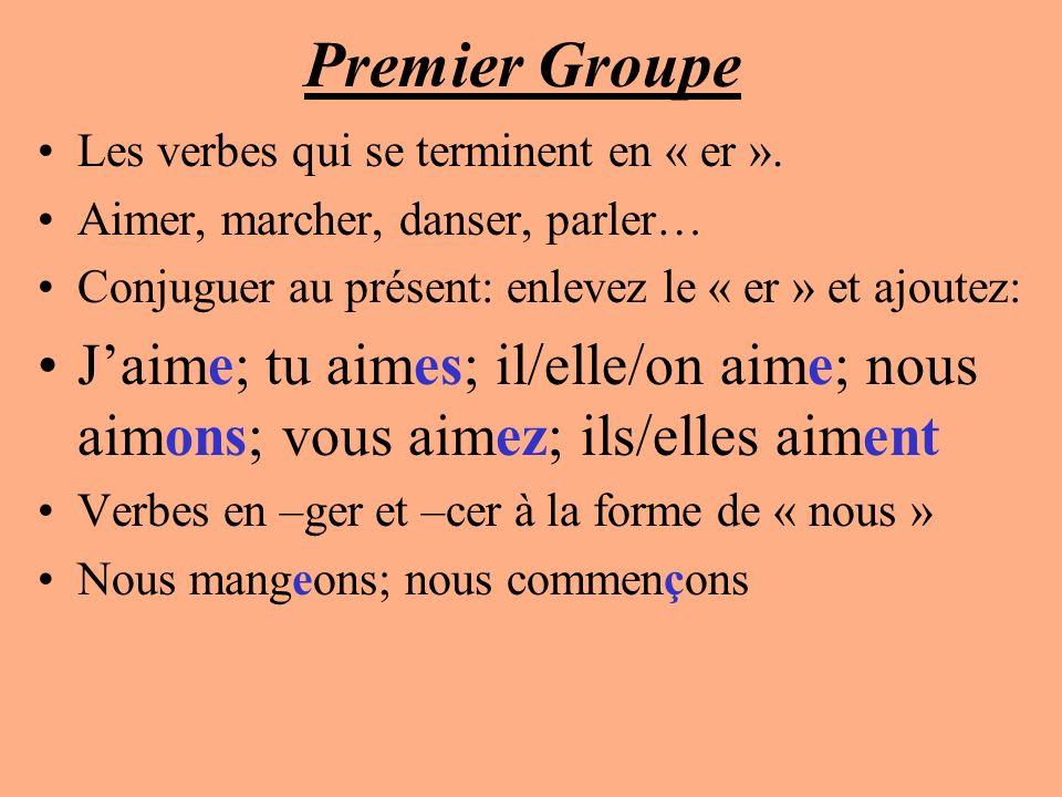 Premier Groupe Les verbes qui se terminent en « er ». Aimer, marcher, danser, parler… Conjuguer au présent: enlevez le « er » et ajoutez: