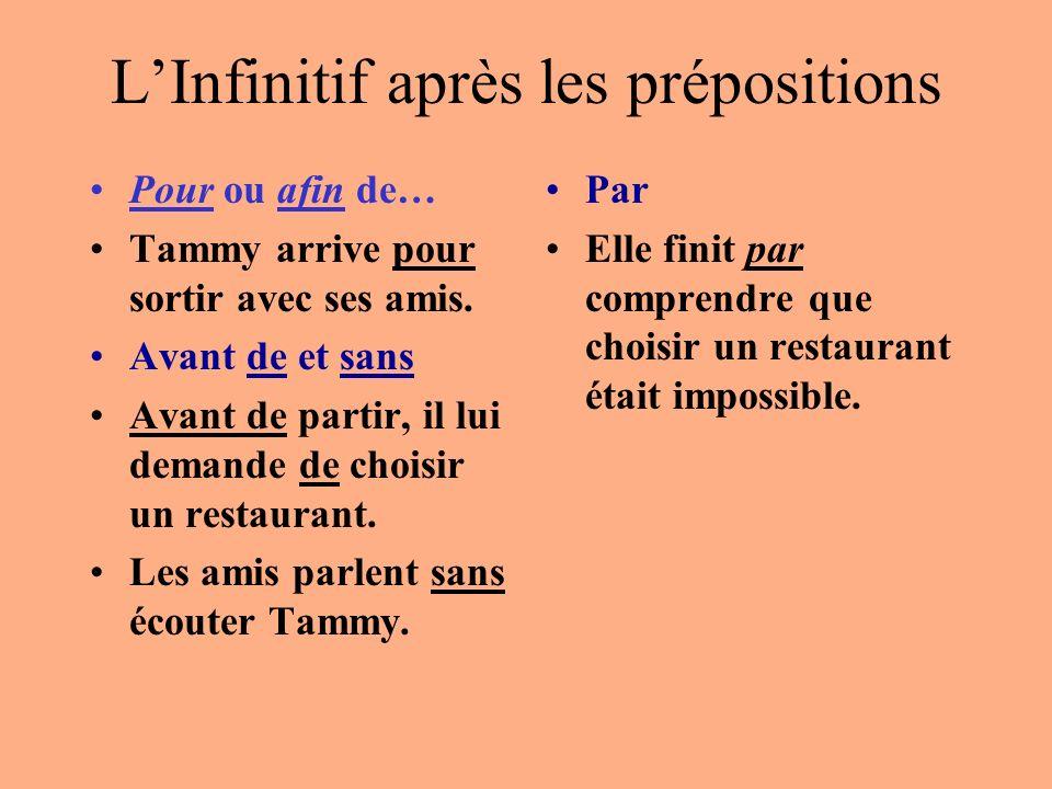 L'Infinitif après les prépositions