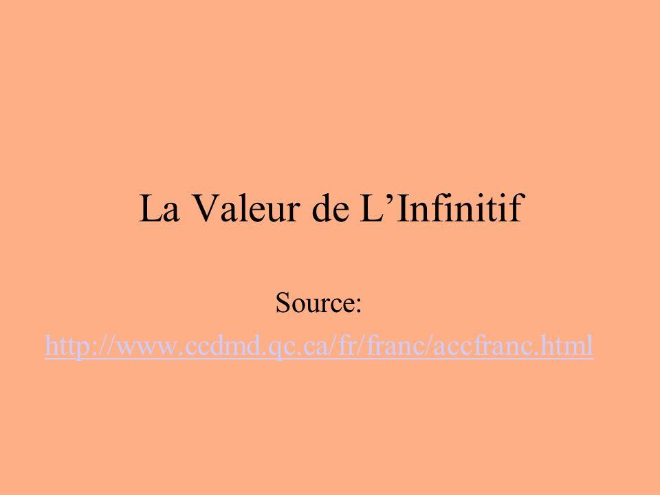 La Valeur de L'Infinitif