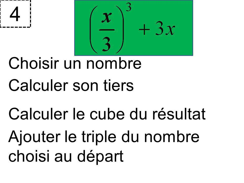 4 Choisir un nombre Calculer son tiers Calculer le cube du résultat