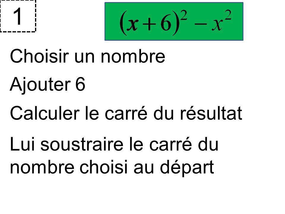 1 Choisir un nombre Ajouter 6 Calculer le carré du résultat