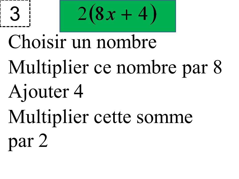 3 Choisir un nombre Multiplier ce nombre par 8 Ajouter 4 Multiplier cette somme par 2