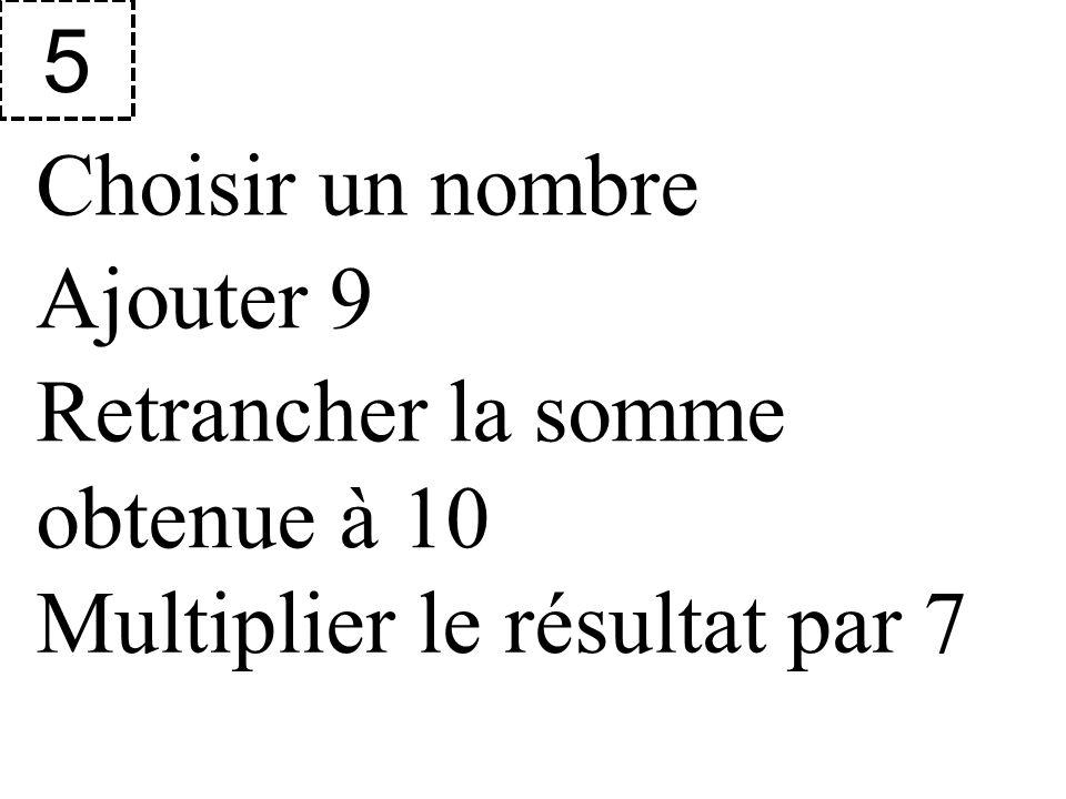 5 Choisir un nombre Ajouter 9 Retrancher la somme obtenue à 10 Multiplier le résultat par 7