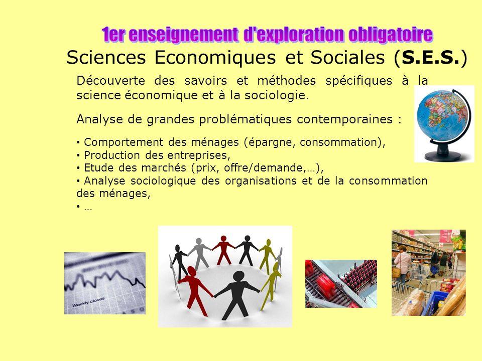 1er enseignement d exploration obligatoire Sciences Economiques et Sociales (S.E.S.)