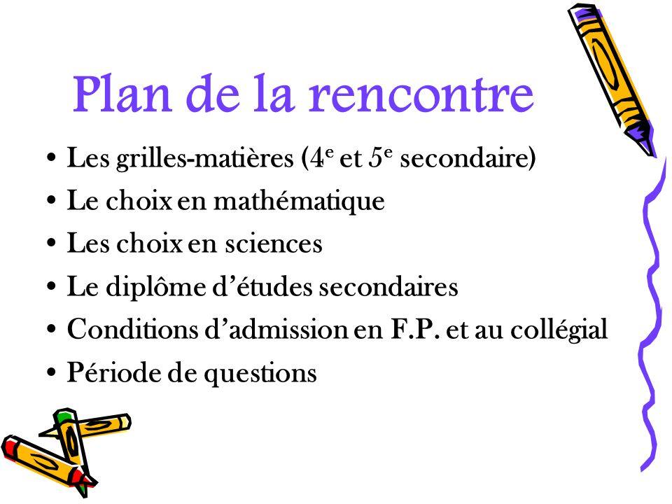 Plan de la rencontre Les grilles-matières (4e et 5e secondaire)