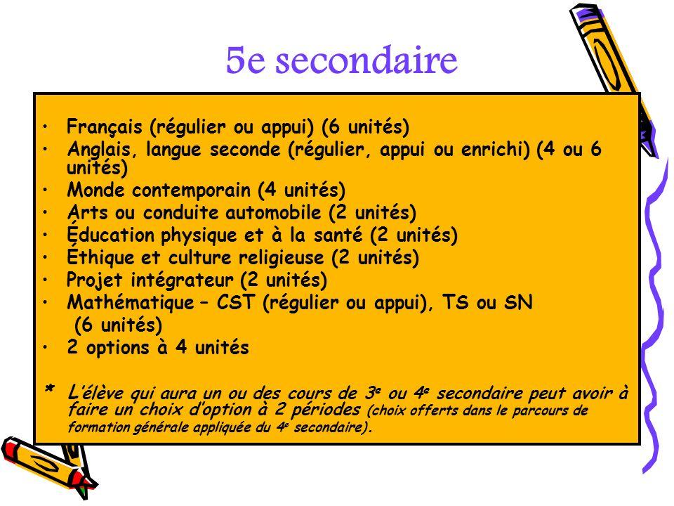 5e secondaire Français (régulier ou appui) (6 unités)