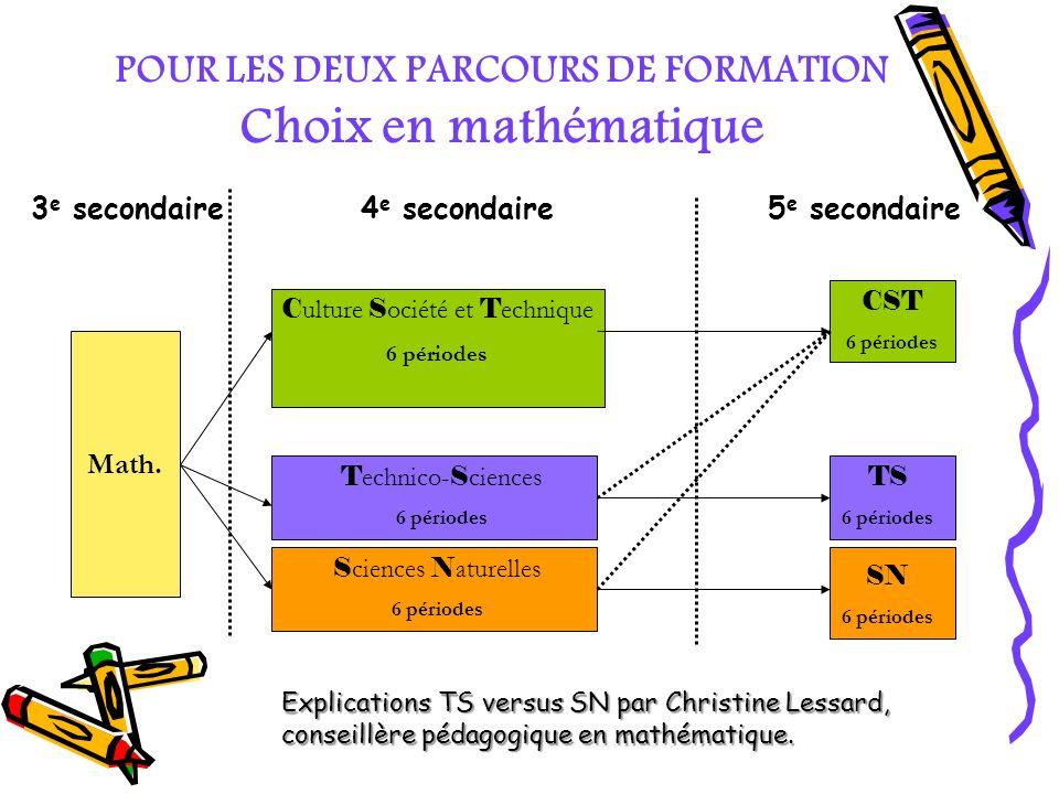 POUR LES DEUX PARCOURS DE FORMATION Choix en mathématique