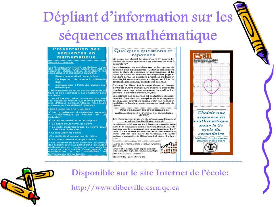 Dépliant d'information sur les séquences mathématique