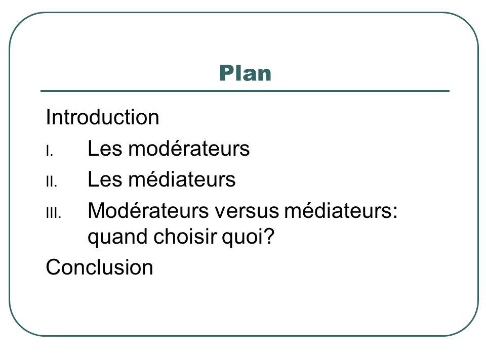 Plan Introduction Les modérateurs Les médiateurs