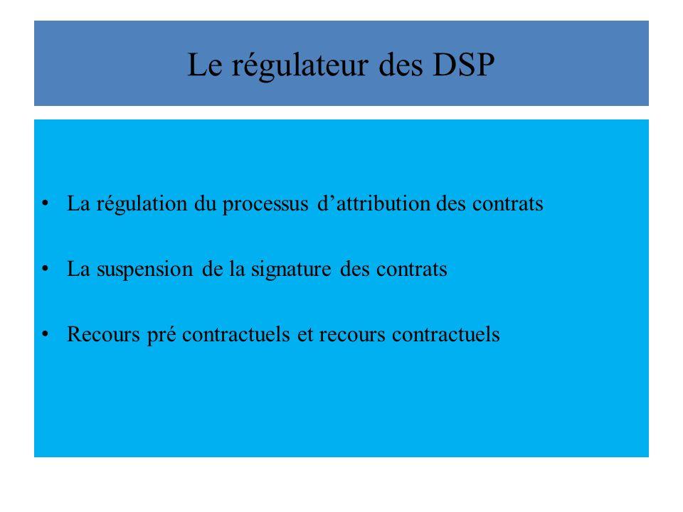 Le régulateur des DSP La régulation du processus d'attribution des contrats. La suspension de la signature des contrats.