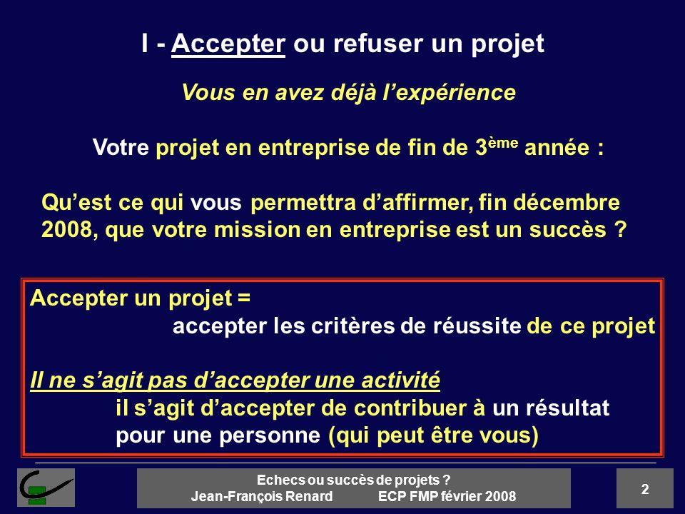 I - Accepter ou refuser un projet