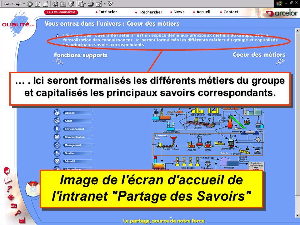 Image de l écran d accueil de l intranet Partage des Savoirs