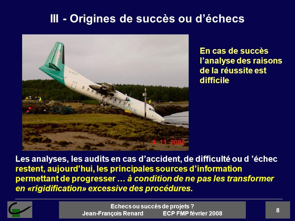 III - Origines de succès ou d'échecs