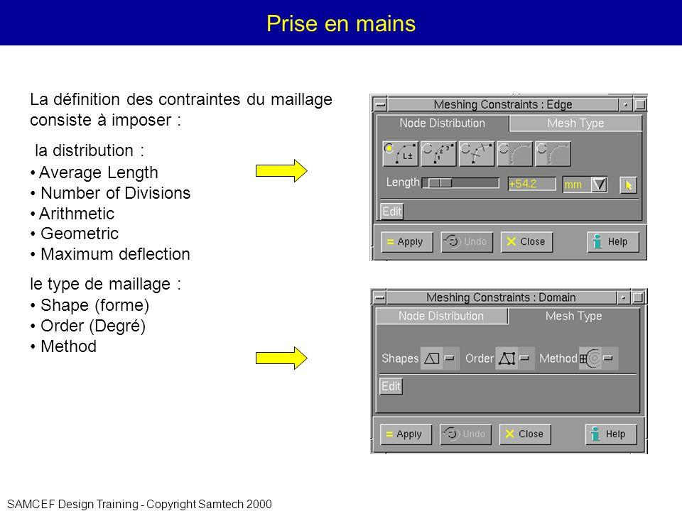 Prise en mains La définition des contraintes du maillage consiste à imposer : la distribution : Average Length.