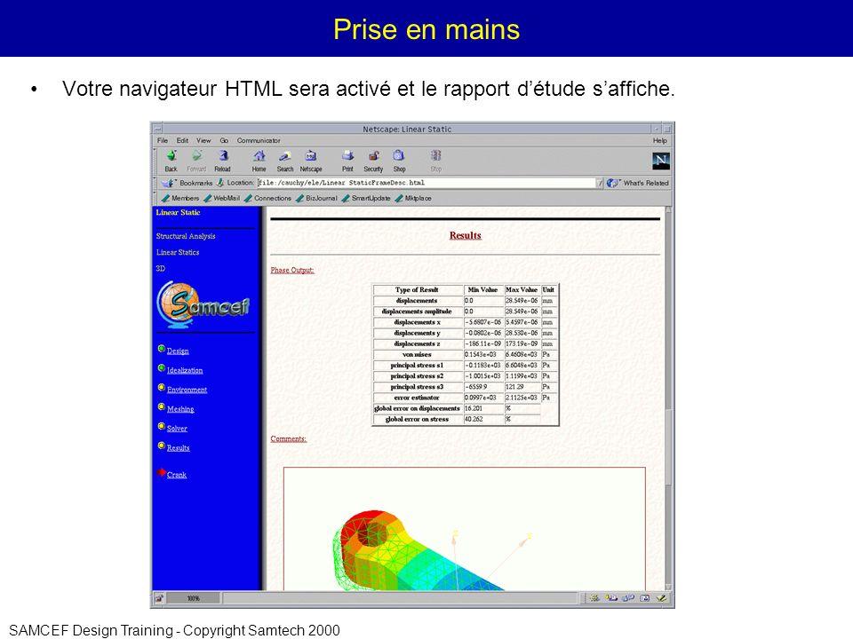 Prise en mains Votre navigateur HTML sera activé et le rapport d'étude s'affiche.