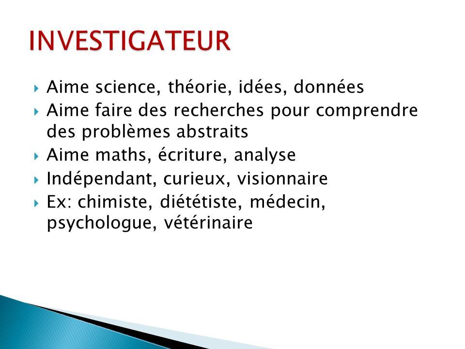 INVESTIGATEUR Aime science, théorie, idées, données
