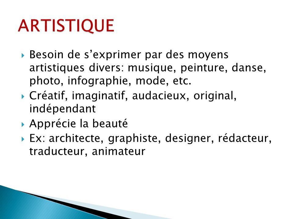 ARTISTIQUE Besoin de s'exprimer par des moyens artistiques divers: musique, peinture, danse, photo, infographie, mode, etc.