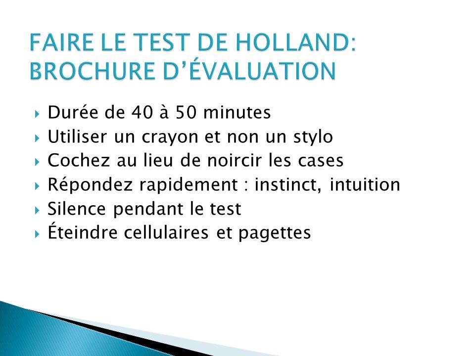 FAIRE LE TEST DE HOLLAND: BROCHURE D'ÉVALUATION