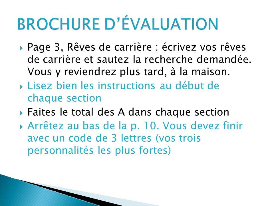 BROCHURE D'ÉVALUATION