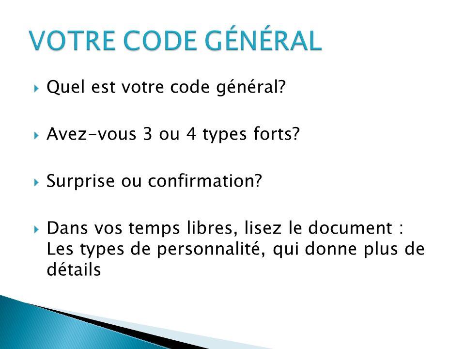 VOTRE CODE GÉNÉRAL Quel est votre code général