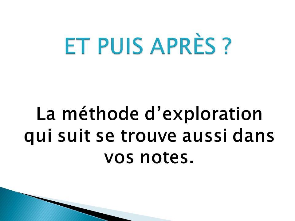 La méthode d'exploration qui suit se trouve aussi dans vos notes.