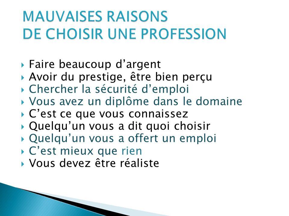 MAUVAISES RAISONS DE CHOISIR UNE PROFESSION