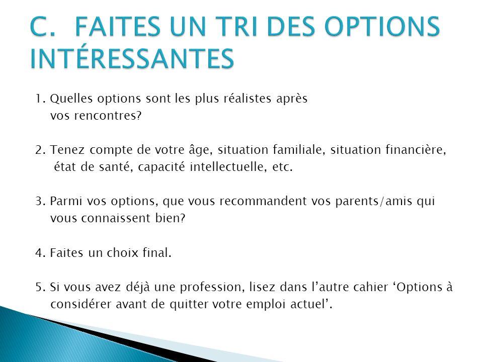 C. FAITES UN TRI DES OPTIONS INTÉRESSANTES