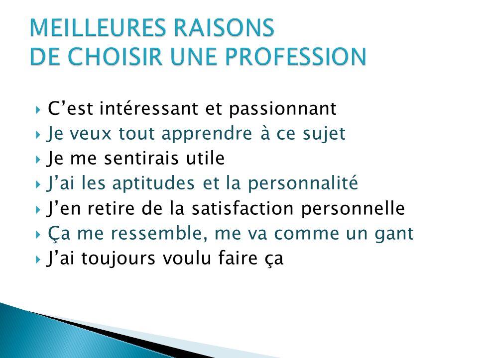 MEILLEURES RAISONS DE CHOISIR UNE PROFESSION