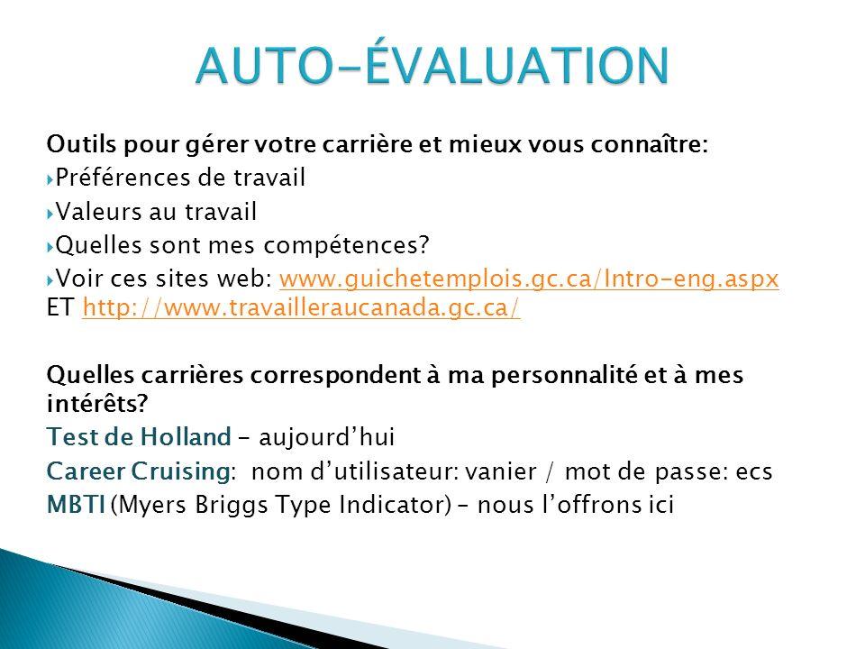 AUTO-ÉVALUATION Outils pour gérer votre carrière et mieux vous connaître: Préférences de travail. Valeurs au travail.