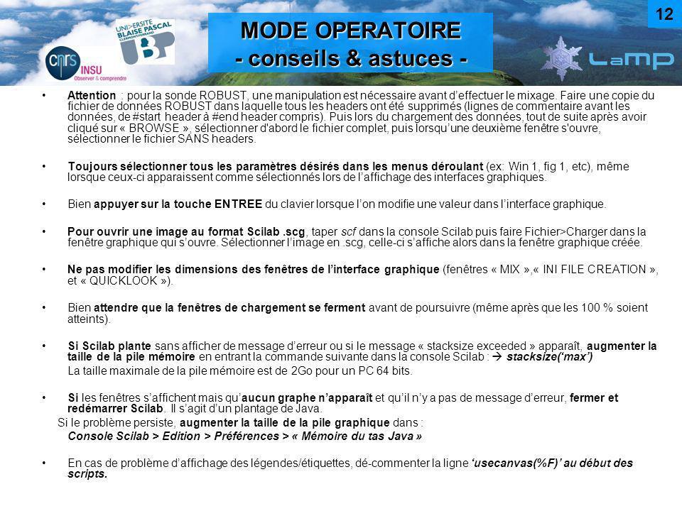 MODE OPERATOIRE - conseils & astuces -