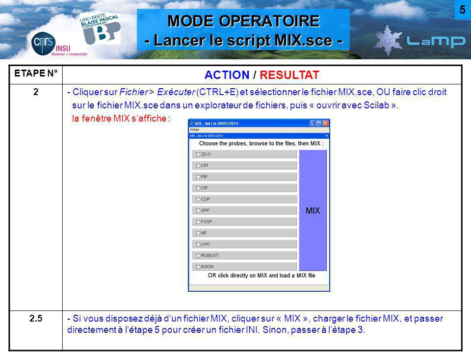 MODE OPERATOIRE - Lancer le script MIX.sce -