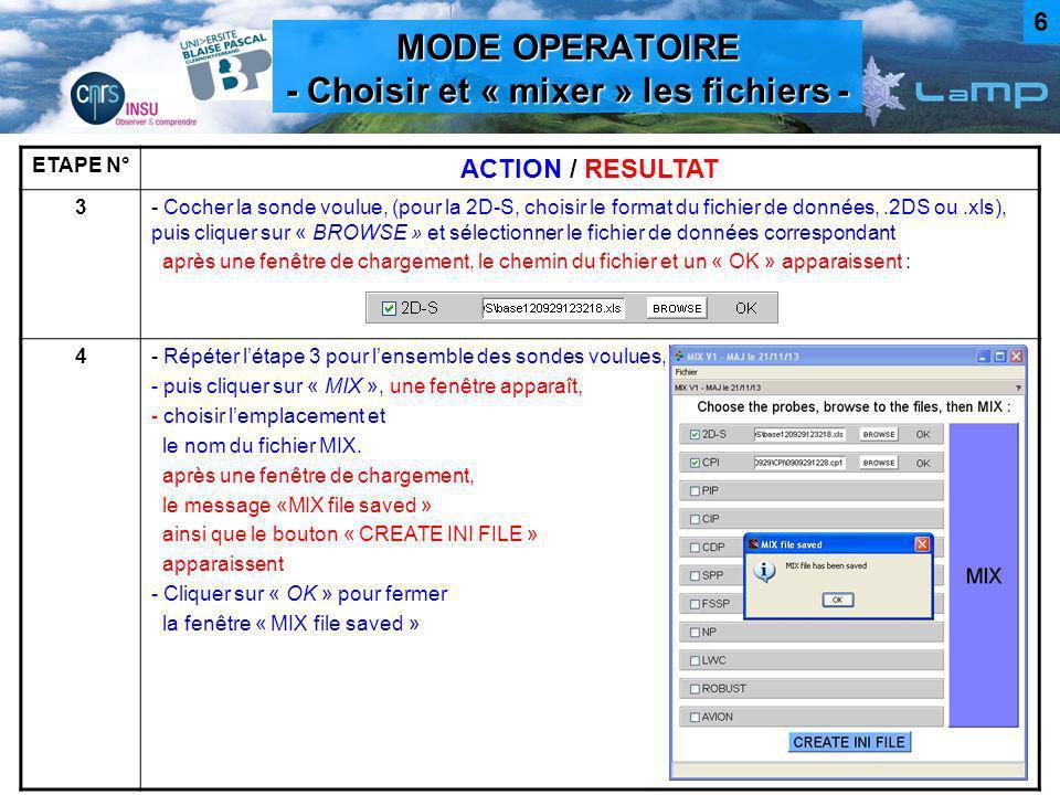 MODE OPERATOIRE - Choisir et « mixer » les fichiers -