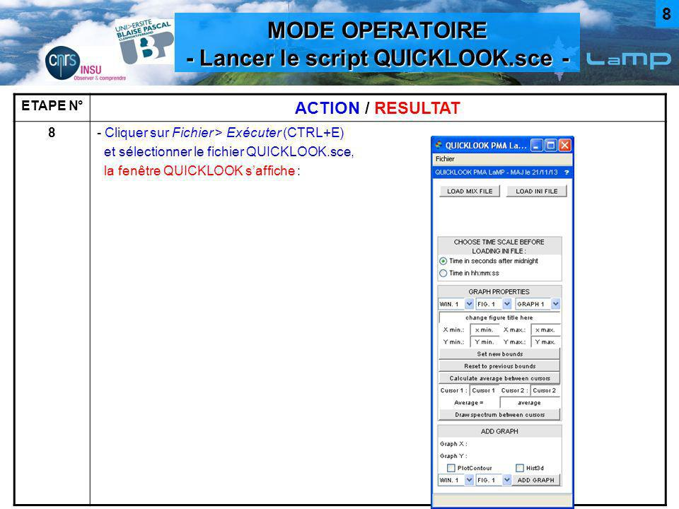 MODE OPERATOIRE - Lancer le script QUICKLOOK.sce -