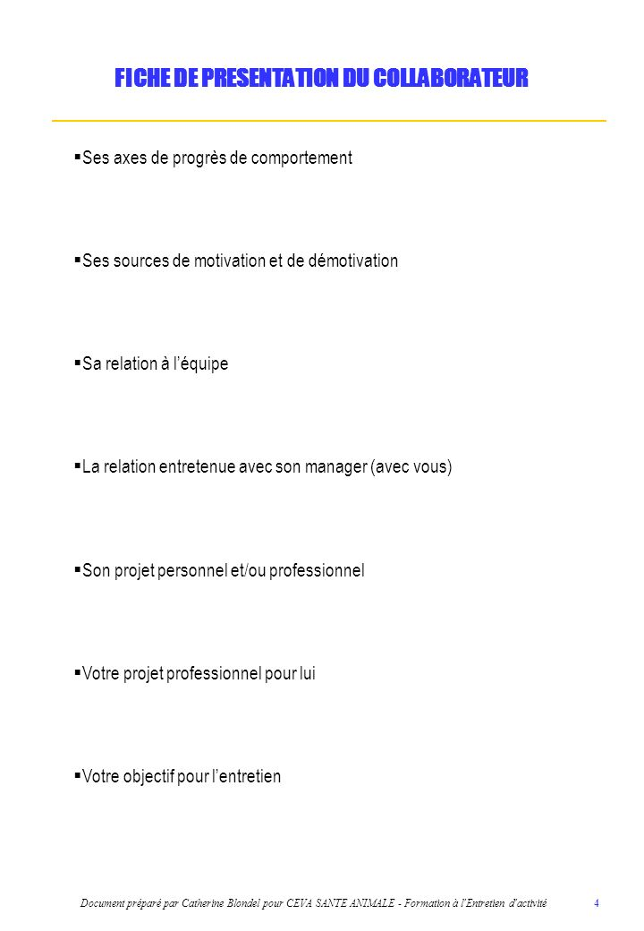 FICHE DE PRESENTATION DU COLLABORATEUR